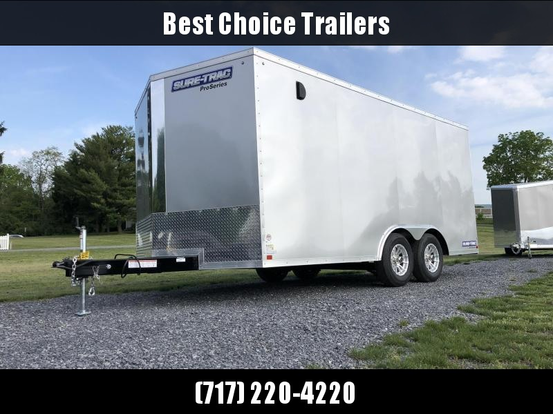 2020 Sure-Trac 8.5x16' Enclosed Cargo Trailer 7000# GVW * SILVER * PRO SERIES * TORSION * BACKUP LIGHTS * SCREWLESS * 1 PIECE ALUMINUM ROOF * PLYWOOD * TUBE STUDS * ALUMINUM WHEELS