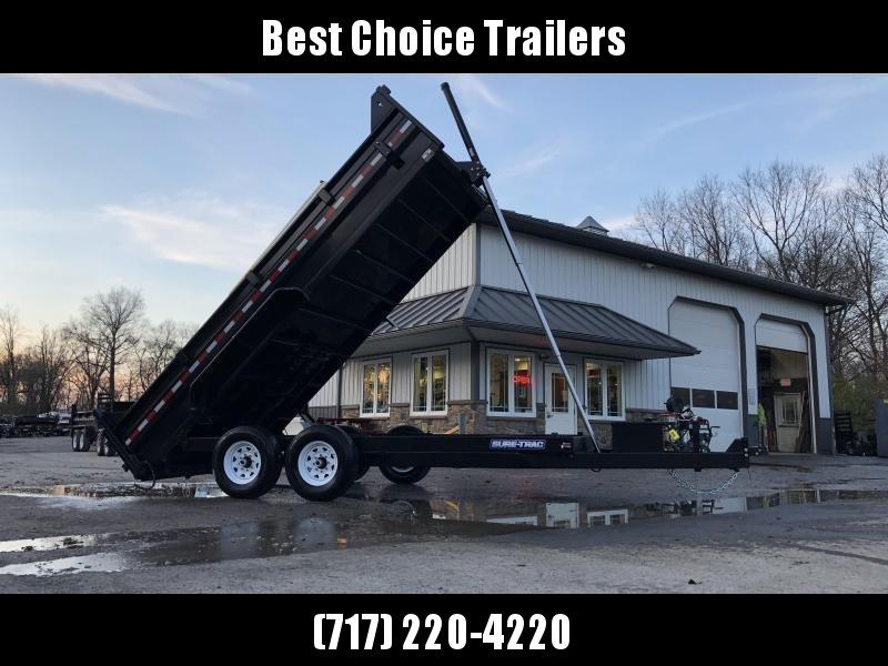 "2021 Sure-Trac 7x16' Dump Trailer 14000# GVW * TARP KIT * OVERSIZE 120"" TELESCOPIC HOIST * EXTENDED TONGUE * OVERSIZE TOOLBOX * FRONT/REAR BULKHEAD * INTEGRATED KEYWAY * 2' SIDES * UNDERBODY TOOL TRAY * ADJUSTABLE COUPLER * COMBO GATE"
