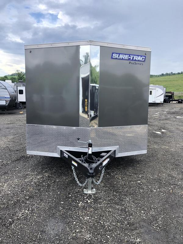 "2021 Sure-Trac 8.5x20' Pro Series Enclosed Car Hauler Trailer 9900# GVW * TORSION AXLES * BACKUP LIGHTS * CHARCOAL EXTERIOR * V-NOSE * RAMP * 5200# AXLES * .030 SCREWLESS EXTERIOR * ALUMINUM WHEELS * 1 PC ROOF * 6"" FRAME * 16"" O.C. C/M * PLYWOOD * TUBE ST"