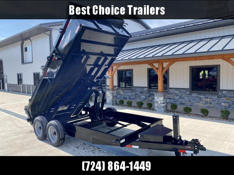 "2021 H&H 7x14' Low Profile Dump Trailer 16000# GVW * 8000# AXLES * 17.5"" TIRES * 7GA FLOOR UPGRADE * HYDRAULIC JACK * 4"" RAMPS * DELUXE TARP WITH SHROUD * 8"" FRAME * SCISSOR HOIST * COMBO GATE * CLEARANCE"