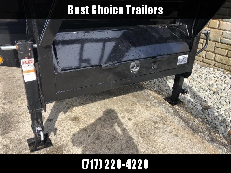 2021 Ironbull 8x18' Gooseneck Deckover Dump Trailer 16000# GVW * TARP KIT * I-BEAM FRAME * BED RUNNERS * FULL FRONT TOOLBOX * DUAL JACKS * FOLD DOWN SIDES * OVERSIZE 5x20 SCISSOR