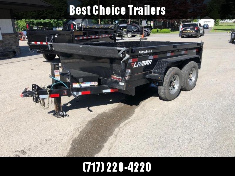 USED 2018 Lamar 77x10' Low Profile Dump Trailer 9990# GVW * DELUXE TARP * 12K JACK * 110V CHARGER * ADJUSTABLE COUPLER