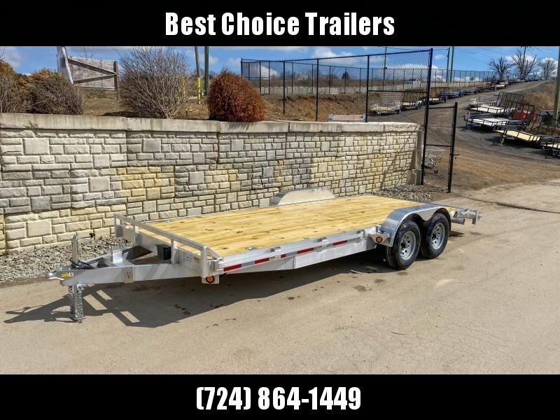 "2021 QSA 7x20' Aluminum Car Trailer 9850# GVW * REMOVABLE FENDERS * LOTS OF TIE DOWNS * PUNCH PLATE RAMPS * SPARE MOUNT * WEIGHT DIST. BRACKETS * 14"" O.C. C/M * CLEARANCE"