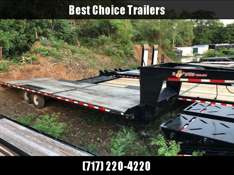 USED 2014 BWISE 26' Gooseneck Deckover Flatbed Trailer 16000# GVW * ADJUSTABLE DOVETAIL * SPARE TIRE * DUAL JACKS * FRONT TOOLBOX