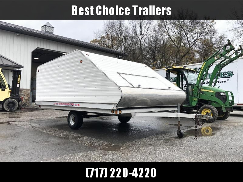 USED 2005 Worthington 8.5x12' Aluminum Snowmobile Trailer 2400# GVW * TILT CLAMSHELL * TRACK MATS * LUGGAGE DOOR * SPARE TIRE * ADJUSTABLE TIE DOWNS