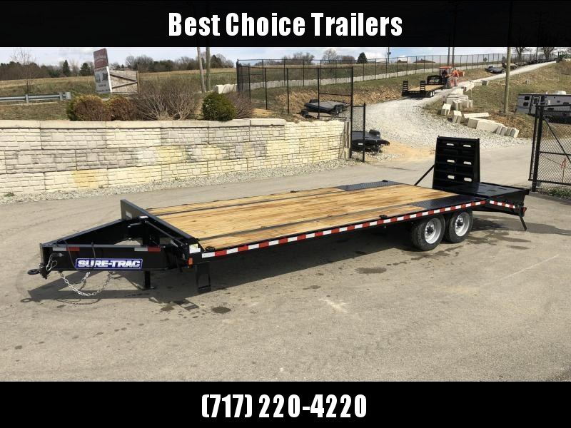 "2021 Sure-Trac 102x25' HD Beavertail Deckover Trailer 17600# GVW * 8000# AXLES * 17.5"" 16-PLY TIRES * 3 3/8"" BRAKES * FULL WIDTH RAMPS (STAND UP OR FLIPOVER) * 12"" I-BEAM * PIERCED FRAME * RUBRAIL/STAKE POCKETS/PIPE SPOOLS/10 D-RINGS"