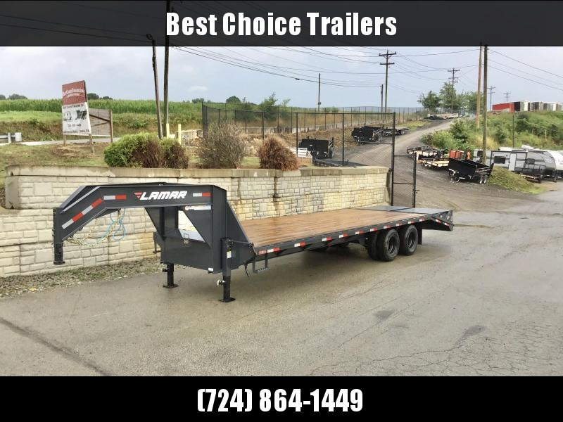 "2020 Lamar 102x28' Gooseneck Beavertail Deckover Trailer 22500# * FULL WIDTH RAMPS * CHARCOAL * 12"" / 19# I-BEAM * DEXTER TANDEM DUALS * FRONT TOOLBOX / DUAL JACKS * UNDER FRAME BRIDGE"
