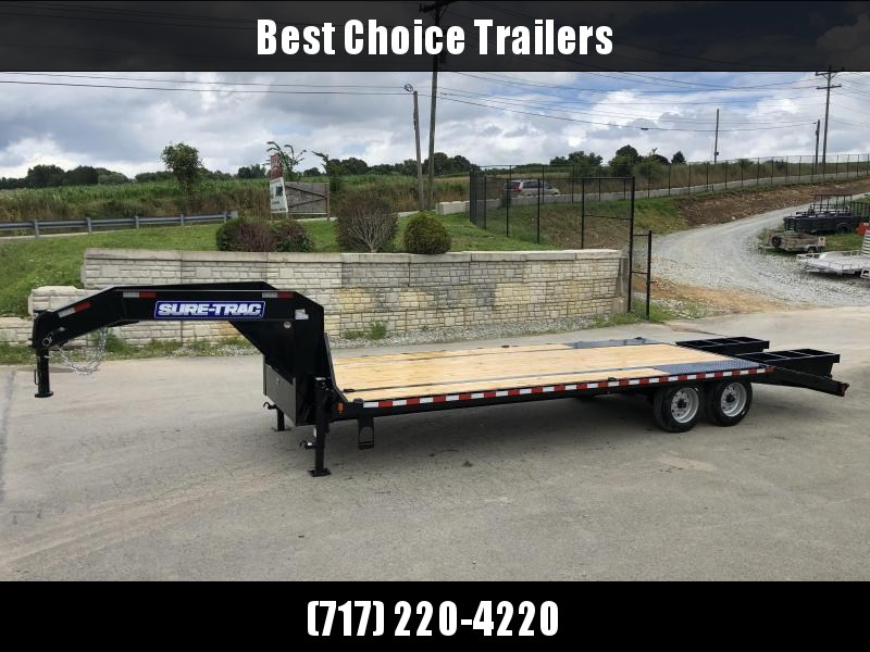 "2019 Sure-Trac 102x25' Gooseneck Beavertail Deckover Trailer 17600# GVW * 8000# AXLES * 17.5"" 16-PLY TIRES * 3 3/8"" BRAKES * DUAL JACKS * FULL TOOLBOX * FLIPOVER RAMPS+SPRING ASSIST * 12"" I-BEAM * PIERCED FRAME * (10) 1"" D-RINGS * CROSS TRAC * CLEARANCE"