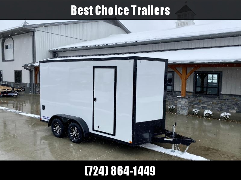 "2021 Sure-Trac 7x14' Enclosed Cargo Trailer 7000# GVW * WHITE EXTERIOR * BLACKOUT TRIM PACKAGE * TORSION * .030 SCREWLESS * ALUM WHEELS * 1PC ROOF * 7' HEIGHT * 6"" FRAME * LED LIGHTS * BACKUP LIGHTS"