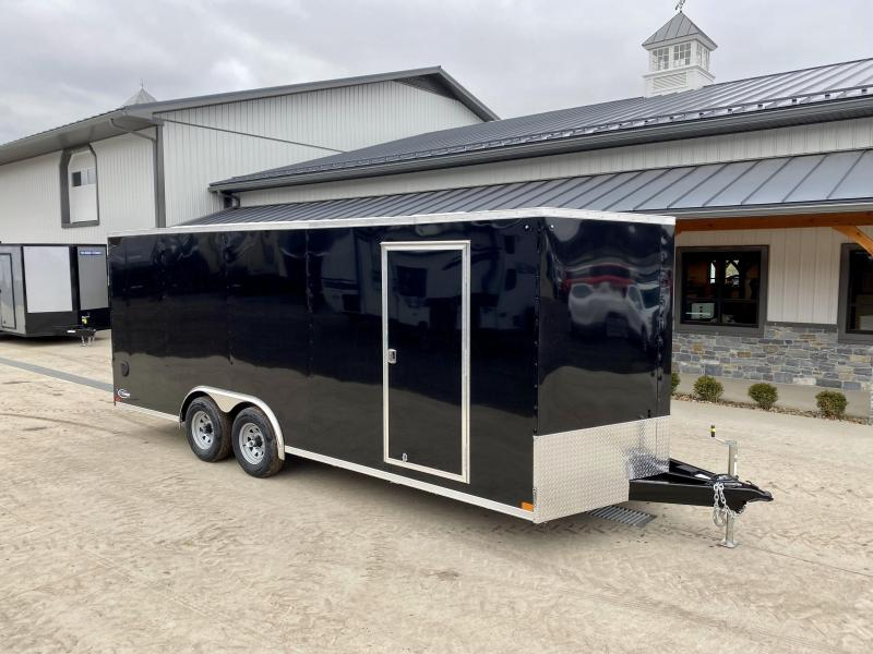"2021 ITI Cargo 8.5x20 Enclosed Car Hauler Trailer 9900# GVW * BLACK EXTERIOR * .030 SEMI-SCREWLESS * RV DOOR * 1 PC ROOF * 3/8"" WALLS * 3/4"" FLOOR * PLYWOOD * TRIPLE TUBE TONGUE * 6'6"" INTERIOR * 24"" STONEGUARD * HIGH GLOSS PAINTED FRAME * D-RINGS"