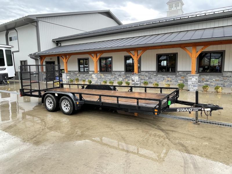 USED 2014 Mustang 7x20' Tandem Axle Utility Landscape Trailer 7000# GVW * TIE DOWNS * 7000# JACK * SPRING ASSISTED GATE * TUBE GATE