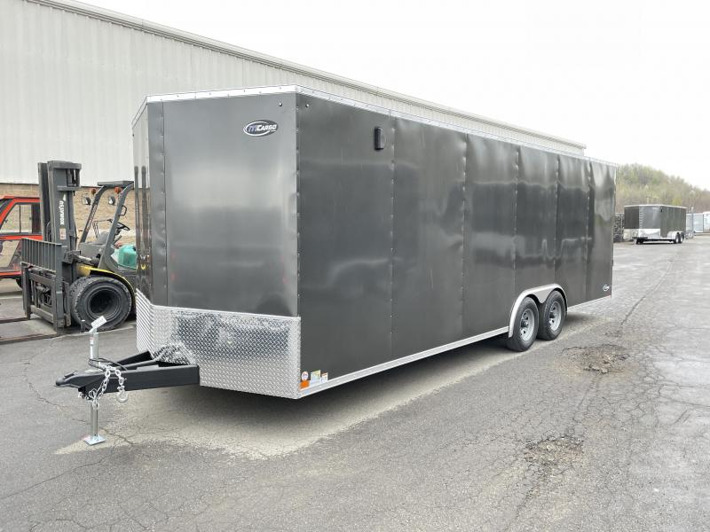 "2021 ITI Cargo 8.5x24 Enclosed Car Hauler Trailer 9900# GVW * 7' HEIGHT - UTV PKG * CHARCOAL EXTERIOR * .030 SEMI-SCREWLESS * RV DOOR * 1 PC ROOF * 3/8"" WALLS * 3/4"" FLOOR * PLYWOOD * TRIPLE TUBE TONGUE * 6'6"" INTERIOR * 24"" STONEGUARD * HIGH GLOSS PAINTE"