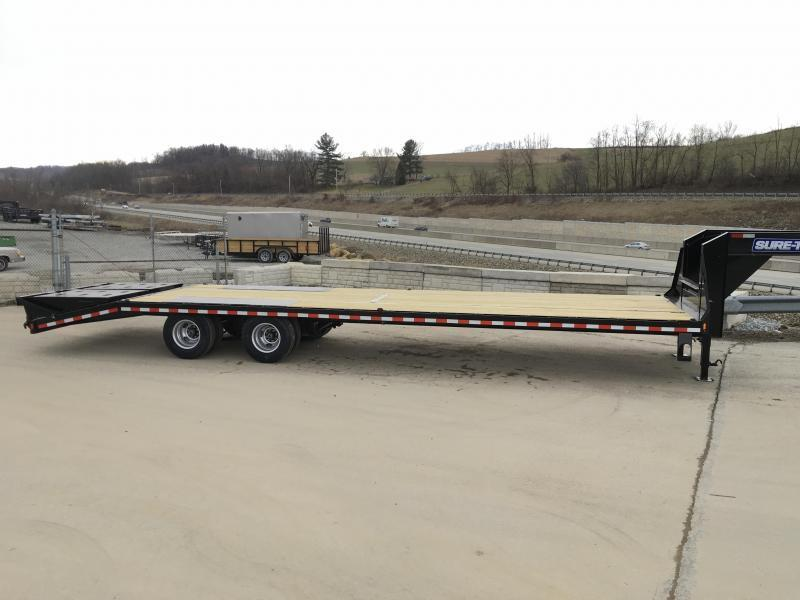 "2021 Sure-Trac 102x40' Gooseneck Beavertail Deckover Trailer 22500# GVW * FULL WIDTH RAMPS (STAND UP OR FLIPOVER) * DEXTER AXLES * 12"" I-BEAM * PIERCED FRAME * RUBRAIL/STAKE POCKETS/PIPE SPOOLS/10 D-RINGS * CROSS TRAC BRACING * HD BEAVERTAIL"