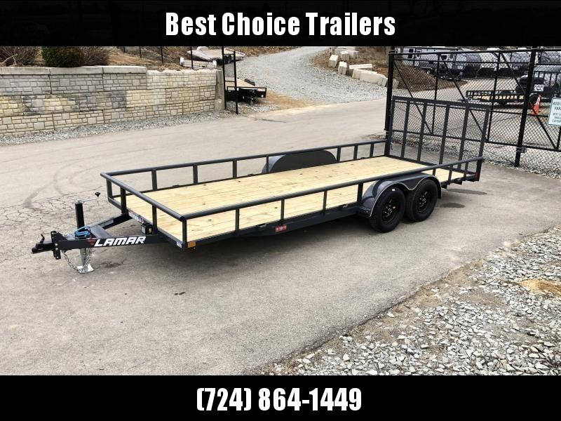"2020 Lamar 7x20' Deluxe Utility Landscape Trailer 7000# GVW * ADJUSTABLE COUPLER * PIPE TOP RAIL * 7K DROP LEG JACK * CHARCOAL * HD GATE/2X2"" TUBE C/M + SPRING ASSIST * COLD WEATHER HARNESS * 4"" CHANNEL TONGUE * STAKE POCKETS * TEARDROP FENDERS * BULLET L"
