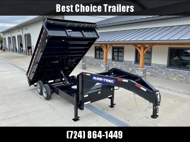 "2021 Sure-Trac 8x14' Gooseneck Deckover Dump Trailer * TARP KIT * 20"" FOLD DOWN SIDES * UNDERMOUNT RAMPS * SCISSOR HOIST * INTEGRATED KEYWAY * UNDERBODY TOOL TRAY * 17.5"" RUBBER * SPARE TIRE * D-RINGS * COMBO GATE * STABILIZER JACKS"