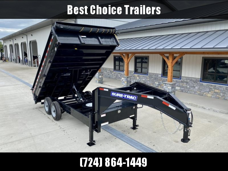 "2021 Sure-Trac Gooseneck Deckover Dump Trailer * TARP KIT * 20"" FOLD DOWN SIDES * UNDERMOUNT RAMPS * SCISSOR HOIST * INTEGRATED KEYWAY * UNDERBODY TOOL TRAY * 17.5"" RUBBER * SPARE TIRE * D-RINGS * COMBO GATE * STABILIZER JACKS"
