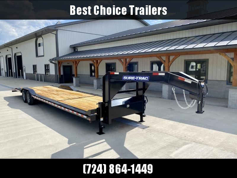 "2021 Sure-Trac 102x24' Gooseneck Car Hauler Equipment Trailer 14000# GVW * 8' SLIDE OUT PUNCH PLATE RAMPS * 102"" DECK * DRIVE OVER FENDERS * BUGGY HAULER * DUAL JACKS * FRONT TOOLBOX * RUBRAIL/STAKE POCKETS/D-RINGS"