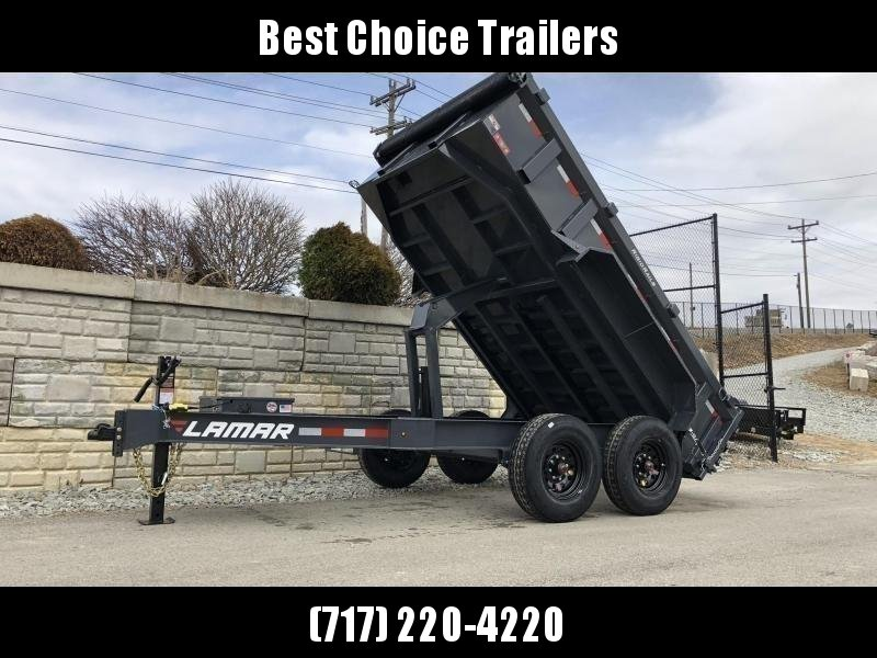 "2021 Lamar 7x12' Deluxe Dump Trailer 14000# GVW * 14-PLY RUBBER * OIL BATH * REAR JACKSTANDS * 7GA FLOOR * TARP KIT * SCISSOR HOIST * 12K JACK * CHARCOAL * RIGID RAILS * HD COUPLER * NESTLED I-BEAM FRAME 28"" H * 3-WAY GATE * 12"" O.C. C/M * CLEARANCE"