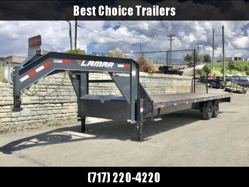"""2021 Lamar 102X26' Gooseneck Deckover Trailer 14000# GVW 12"""" I BEAM * 8' SLIDE OUT RAMPS * FRONT TOOLBOX * DUAL JACKS * RUBRAIL/STAKE POCKETS/PIPE SPOOLS * SPARE TIRE * CHARCOAL"""