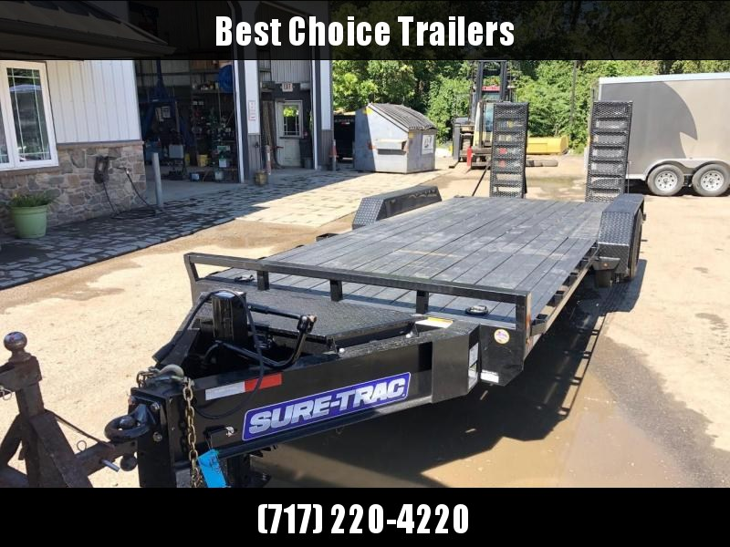 "2020 Sure-Trac 7x20' Equipment Trailer 20000# GVW * 10000# AXLE UPGRADE * 17.5"" 16-PLY RUBBER * OIL BATH HUBS * HD COUPLER * 12K JACK * RUBRAIL/STAKE POCKETS/D-RINGS * SPARE MOUNT * HD 4"" CHANNEL STAND UP RAMPS W/ SPRING ASSIST * TOOLBOX"