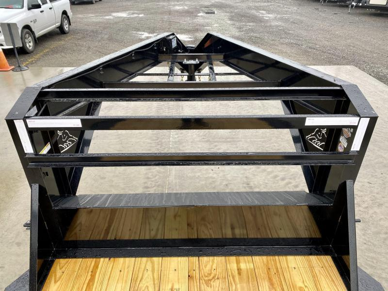 """2021 Ironbull 102x40' Gooseneck Car Hauler Trailer 21000# GVW * STAND UP RAMPS * DEXTER AXLES * 4' DOVETAIL * 102"""" DECK * DRIVE OVER FENDERS * DUAL JACKS * FULL TOOLBOX * RUBRAIL/STAKE POCKETS/PIPE SPOOLS/D-RINGS * UNDER FRAME BRIDGE * CLEARANCE"""