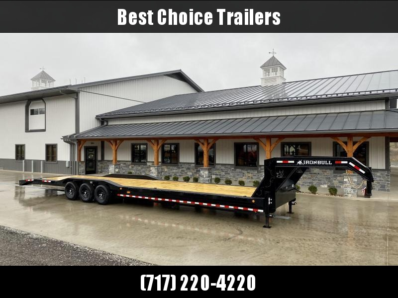 "2021 Ironbull 102x40' Gooseneck Car Hauler Trailer 21000# GVW * STAND UP RAMPS * DEXTER AXLES * 4' DOVETAIL * 102"" DECK * DRIVE OVER FENDERS * DUAL JACKS * FULL TOOLBOX * RUBRAIL/STAKE POCKETS/PIPE SPOOLS/D-RINGS * UNDER FRAME BRIDGE * CLEARANCE"