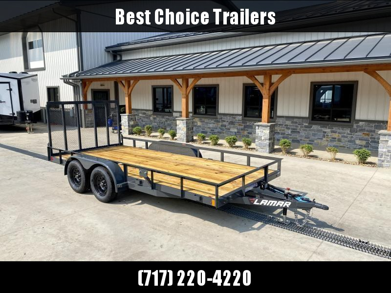 """2021 Lamar 7x18' Deluxe Utility Landscape Trailer 7000# GVW * ADJUSTABLE COUPLER * 4"""" CHANNEL FRAME/TONGUE * CHARCOAL * HD GATE/2X2"""" TUBE C/M + SPRING ASSIST * COLD WEATHER HARNESS * STAKE POCKETS * TEARDROP FENDERS * BULLET LEDS * CLEARANCE"""