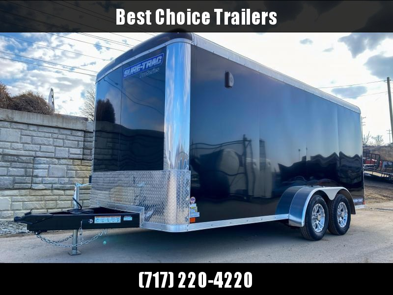 """2021 Sure-Trac 7x16' Pro Series Enclosed Cargo Trailer 7000# GVW * CHARCOAL EXTERIOR * TORSION SUSPENSION * .030 SCREWLESS EXTERIOR * ROUND TOP * ALUMINUM WHEELS * 1 PC ROOF * 6'6"""" HEIGHT * 6"""" FRAME * 16"""" O.C. C/M * PLYWOOD * TUBE STUDS"""