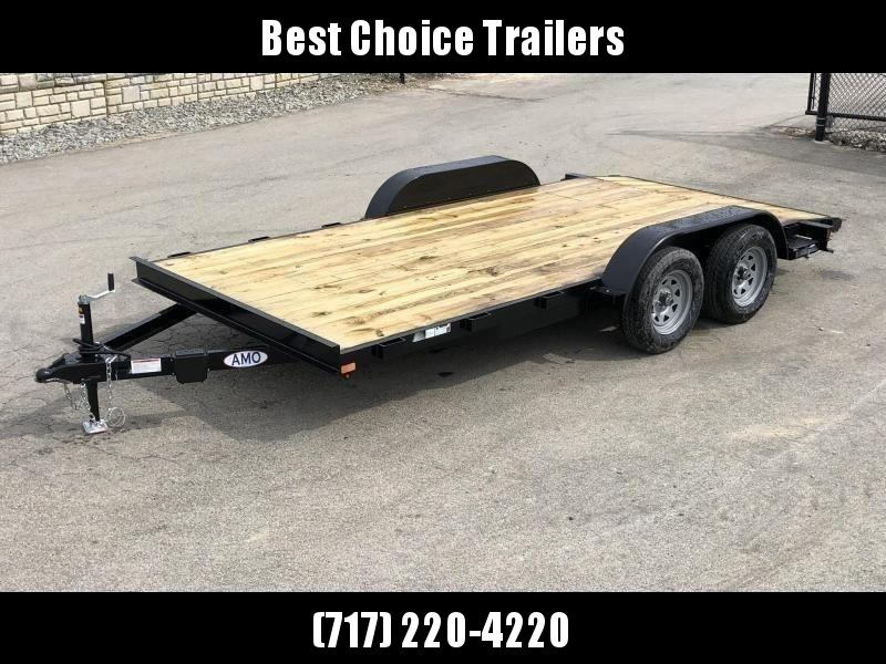 2021 AMO 7x18' Wood Deck Car Trailer 7000# GVW * LED TAIL LIGHTS * STACKED CHANNEL TONGUE/FRAME * BEAVERTAIL * REMOVABLE FENDERS * 2-AXLE BRAKES