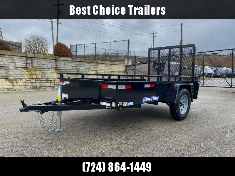 """2021 Sure-Trac 5x10' Solid Side Utility Landscape Trailer 2990# GVW * 2X2"""" TUBE GATE C/M + SPRING ASSIST * FOLD FLAT GATE * TOOLESS GATE REMOVAL * SPARE MOUNT * PROTECTED WIRING * SET BACK JACK * TRIPLE TUBE TONGUE * HD FENDERS * TUBE BUMPER * HIGH SIDE"""
