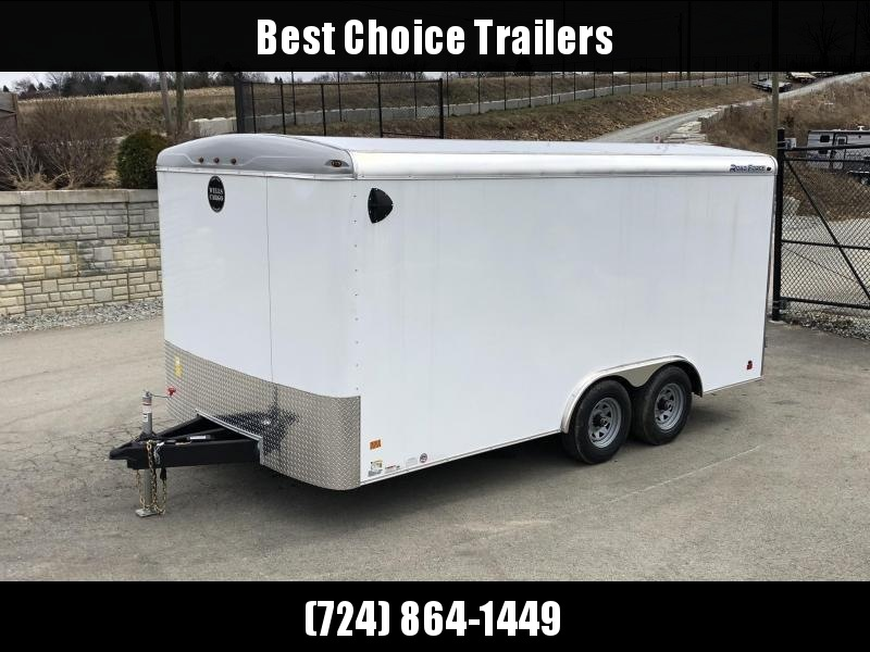 "2021 Wells Cargo 8.5x16' Road Force Enclosed Cargo Trailer 7000# GVW * WHITE EXTERIOR * RAMP DOOR * ROUND TOP * SCREWLESS .030 EXTERIOR * 6'6"" HEIGHT * TUBE STUDS * 1 PC ROOF * 16"" O.C. WALLS/FLOOR * RV DOOR * ARMOR GUARD * TRIPLE TONGUE * TUBE FRAME"