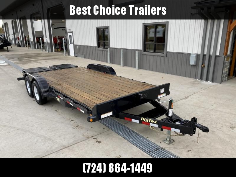 USED 2017 Big Tex 7x18' Equipment Trailer 9990# GVW * FULL WIDTH RAMPS * REMOVABLE FENDERS * RUBRAIL/STAKE POCKETS/D-RINGS * ADJUSTABLE CAST COUPLER * DROP LEG JACK * SPARE TIRE MOUNT