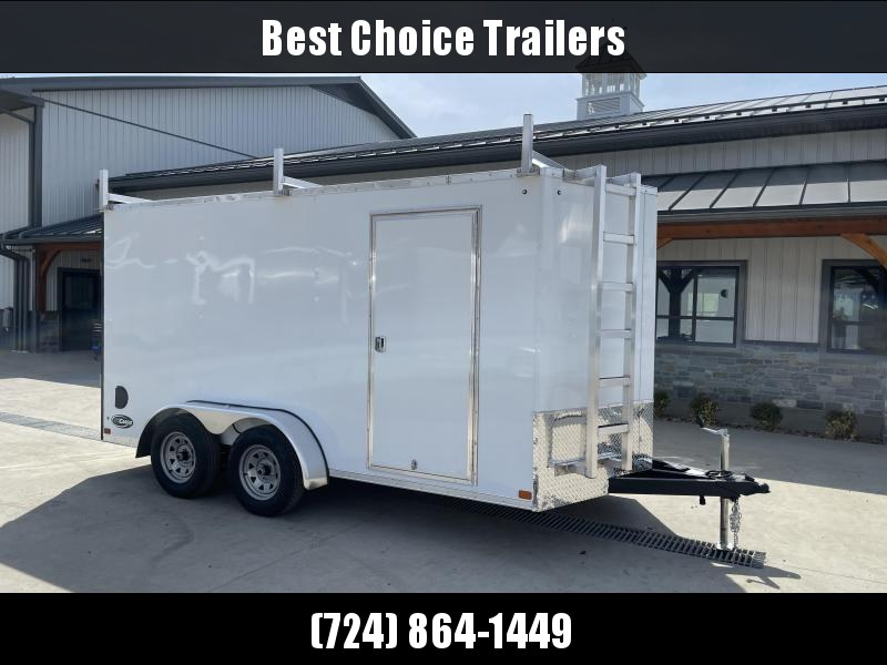 "2021 ITI Cargo 7x14' Enclosed Cargo Trailer 7000# GVW * WHITE EXTERIOR * WALK ON ROOF * FRONT LADDER * 3 LADDER RACKS * .030 SEMI-SCREWLESS * 1 PC ROOF * 6'6"" INTERIOR * 3/8"" WALLS * 3/4"" FLOOR * PLYWOOD * 24"" STONEGUARD * HIGH GLOSS PAINTED FRAME * RV DO"