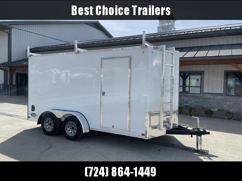 """2021 ITI Cargo 7x14' Enclosed Cargo Trailer 7000# GVW * WHITE EXTERIOR * WALK ON ROOF * FRONT LADDER * 3 LADDER RACKS * .030 SEMI-SCREWLESS * 1 PC ROOF * 6'6"""" INTERIOR * 3/8"""" WALLS * 3/4"""" FLOOR * PLYWOOD * 24"""" STONEGUARD * HIGH GLOSS PAINTED FRAME * RV DO"""