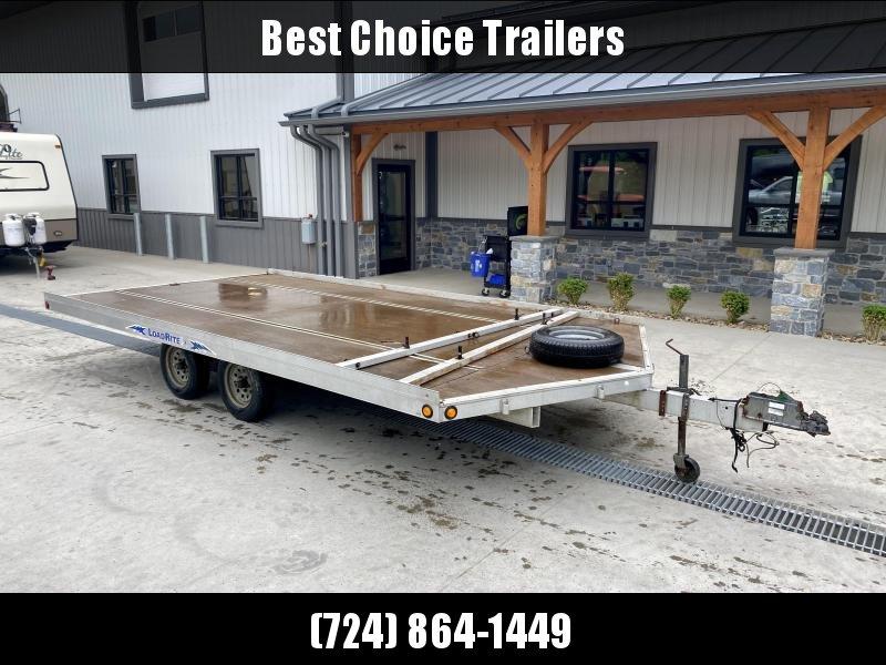 USED 2001 Load Rite 102x12' Snowmobile Trailer 4400# GVW * TORSION * SURGE BRAKES * ALUMINUM * SPARE TIRE * SWIVEL JACK * SLIDE OUT RAMP