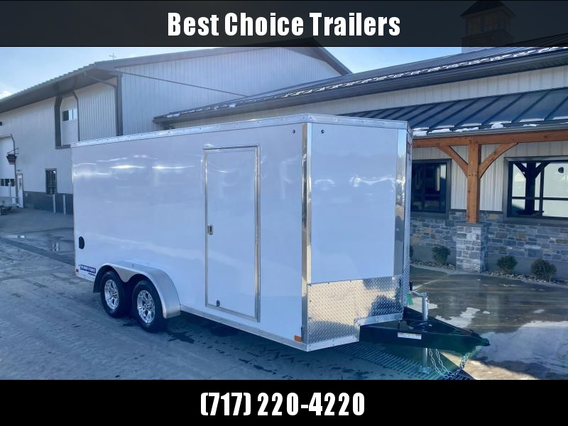 "2021 Sure-Trac 7x16' Pro Series Enclosed Cargo Trailer 7000# GVW * WHITE EXTERIOR * TORSION V-NOSE * RAMP * .030 SCREWLESS EXTERIOR * ALUMINUM WHEELS * 1 PC ROOF * 6'6"" HEIGHT * 6"" FRAME * 16"" O.C. C/M * PLYWOOD * TUBE STUDS"