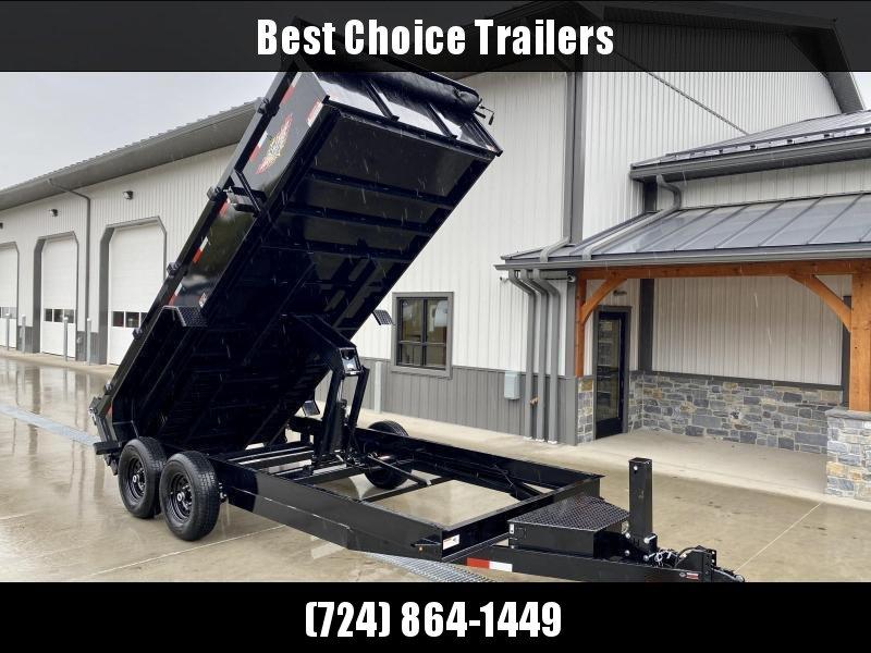 "2021 H&H 7x12' Low Profile Dump Trailer 14000# GVW * 7GA FLOOR UPGRADE * HYDRAULIC JACK * 4"" RAMPS * DELUXE TARP WITH SHROUD * 8"" FRAME * SCISSOR HOIST * COMBO GATE"