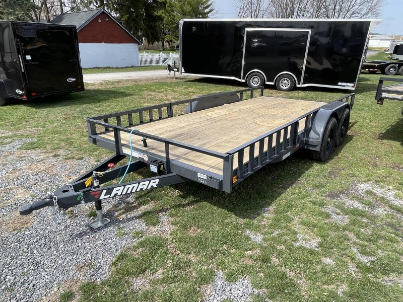 """2021 Lamar 7x16' ATV Utility Trailer 7000# GVW * CHANNEL FRAME * ATV SIDE RAMPS * CHARCOAL * SWIVEL JACK * CAST COUPLER * COLD WEATHER HARNESS * 4"""" CHANNEL TONGUE * STAKE POCKETS * TEARDROP FENDERS * BULLET LED'S"""
