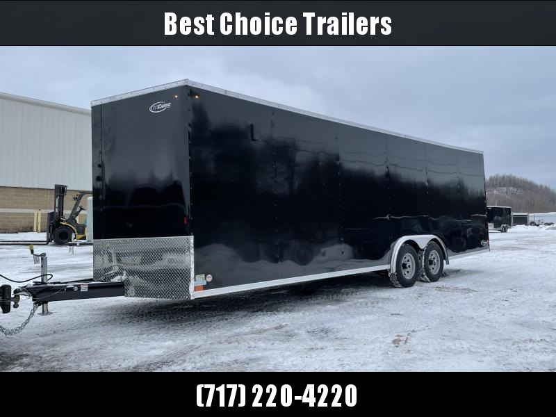 "2021 ITI Cargo 8.5x24 Enclosed Car Hauler Trailer 9900# GVW * BLACK EXTERIOR * .030 SEMI-SCREWLESS * RV DOOR * 1 PC ROOF * 3/8"" WALLS * 3/4"" FLOOR * PLYWOOD * TRIPLE TUBE TONGUE * 6'6"" INTERIOR * 24"" STONEGUARD * HIGH GLOSS PAINTED FRAME * D-RINGS"