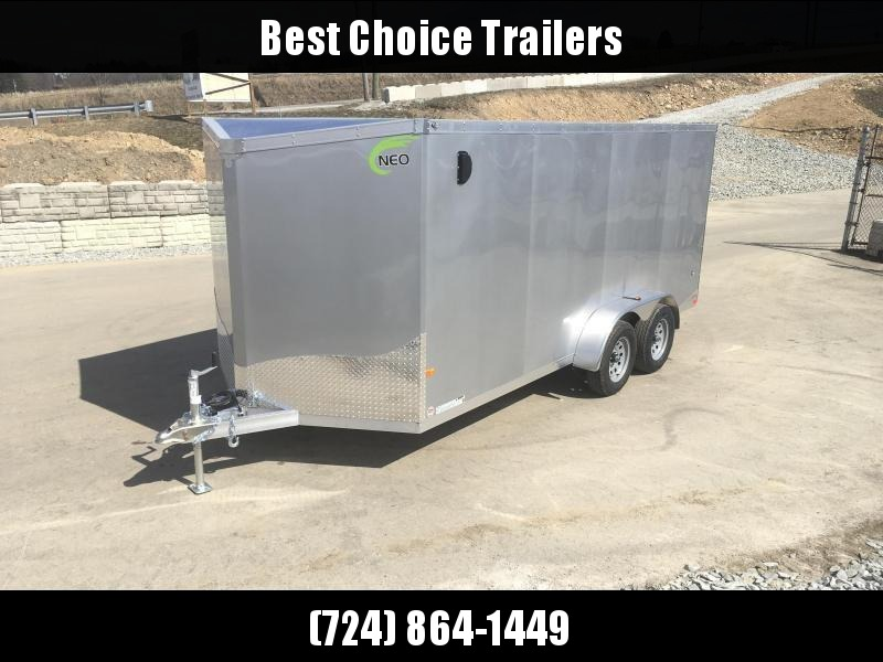 2020 Neo 7x16 NAVF Aluminum Enclosed Cargo Trailer * RAMP DOOR * SILVER EXTERIOR * ALUMINUM WHEELS