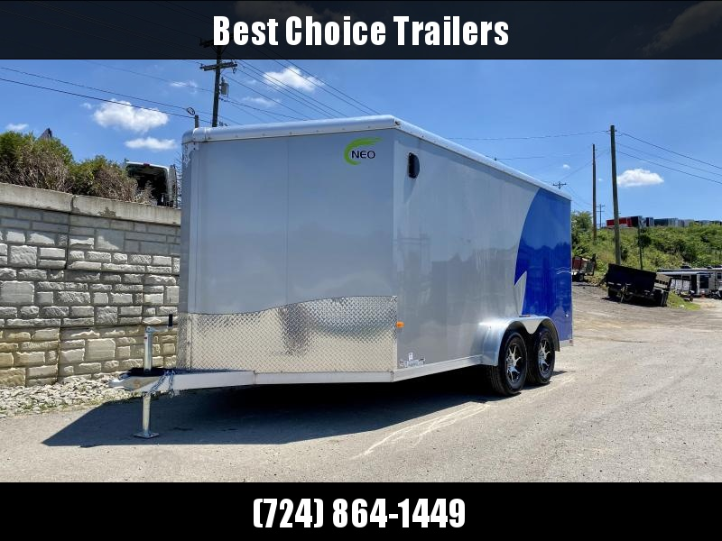 "2020 Neo 7.5x14' NAMR Aluminum Enclosed Motorcycle Trailer * NUDO FLOORS * VINYL WALLS * ALUMINUM WHEELS * +6"" HEIGHT * SILVER+BLUE * LOADING LIGHT * TORSION SUSPENSION * OVERHEAD CABINET"