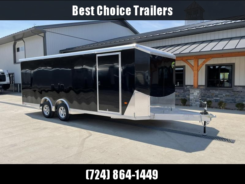 2021 NEO 8.5x22' NACX Aluminum Enclosed Car Hauler Trailer 9990# GVW * CHARCOAL EXTERIOR * ESCAPE DOOR * 5200# TORSION * BULLNOSE * SPREAD AXLE * DRT REAR SPOILER * NXP RAMP * ROUND TOP * HD FRAME * ALUMINUM WHEELS * RV DOOR * 1 PC ROOF
