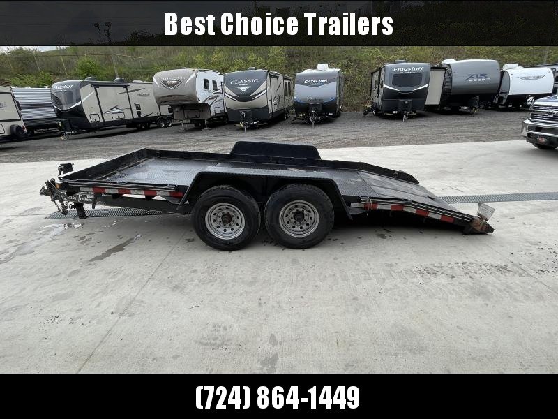 USED 2018 Quality 7x16' Tilt Equipment Trailer 15000# GVW * STEEL FLOOR * FRONT TOOLBOX * NESTLED FRAME * ADJUSTABLE COUPLER * 12K JACK