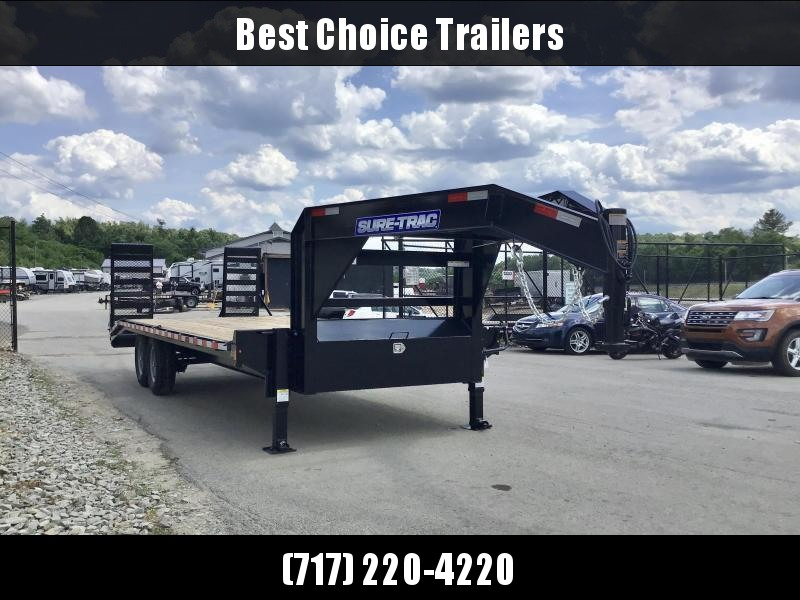 "2021 Sure-Trac 102x22 Gooseneck Beavertail Deckover Trailer 15000# GVW * FULL TOOLBOX * DUAL 12K JACKS * DELUXE HD 4"" CHANNEL STAND UP RAMPS + SPRING ASSIST * 10"" I-BEAM MAINFRAME * CHANNEL SIDE RAIL * RUBRAIL/STAKE POCKETS/D-RINGS * LED'S * POWDERCOATED"