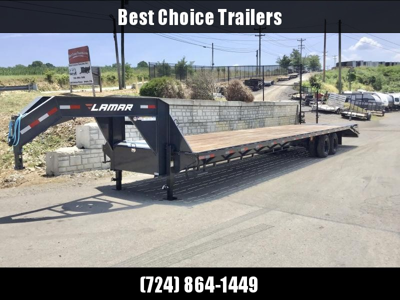"2021 Lamar 102x40' Gooseneck Beavertail Deckover Trailer 22000# * 10000# DEXTER AXLES * FULL WIDTH RAMPS * 12"" / 22# I-BEAM * FRONT TOOLBOX / DUAL JACKS * UNDER FRAME BRIDGE"