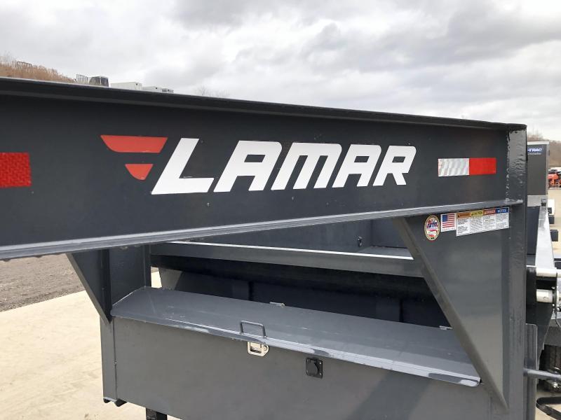 "2021 Lamar 7x14' Gooseneck Dump Trailer 14000# GVW * TARP KIT * SCISSOR HOIST * CHARCOAL * 14-PLY RUBBER * OIL BATH * 12"" O.C. CROSSMEMBERS * DUAL 12K JACKS * REAR SUPPORT STANDS * 7GA FLOOR * RIGID RAILS * NESTLED I-BEAM FRAME 28"" H * 12"" O.C.* CLEARANCE"