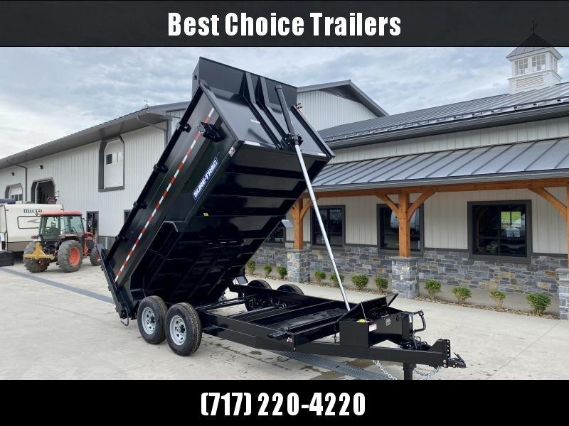2022 Sure-Trac 7x16' Dump Trailer 14000# GVW * TARP KIT * 4' HIGH SIDES * TELESCOPIC HOIST * 12K JACK * FRONT/REAR BULKHEAD * INTEGRATED KEYWAY * UNDERBODY TOOL TRAY * ADJUSTABLE COUPLER * 110V CHARGER * UNDERMOUNT RAMPS