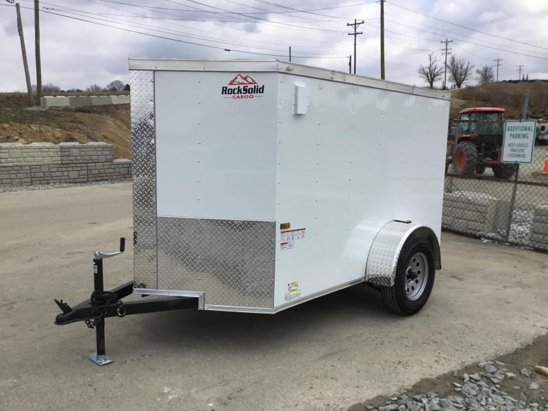 2021 Rock Solid Cargo 5x8' Enclosed Cargo Trailer 2990# GVW *  WHITE EXTERIOR * RAMP DOOR * RV DOOR * 16IN O.C. C/M * TUBE STUDS * PLYWOOD WALLS AND FLOOR