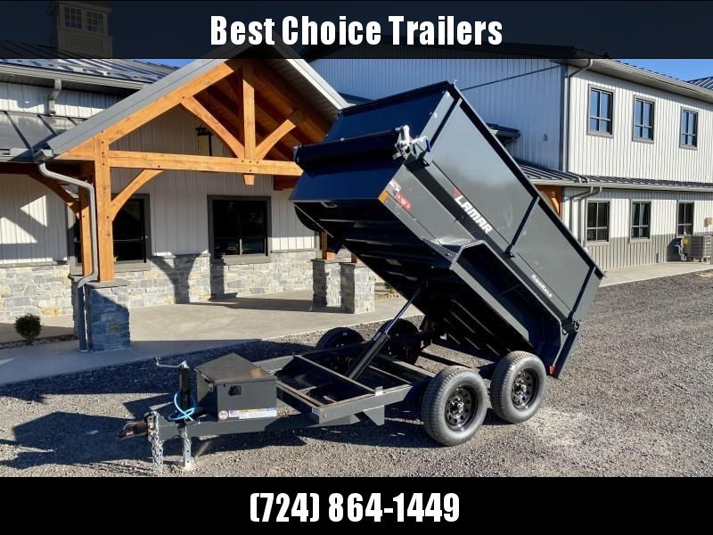 2021 Lamar 5x10' High Side Dump Trailer 7000# GVW * 2' SIDE EXTENSIONS * DELUXE TARP KIT * SPARE TIRE + MOUNT * UNDERMOUNT RAMPS * CHARCOAL * ADJUSTABLE COUPLER * RIGID RAILS * 110V CHARGER * DOUBLE CHANNEL FRAME * 10GA FLOOR * CLEARANCE