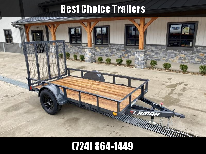"2021 Lamar 5x10' Utility Landscape Trailer 2990# GVW * CHARCOAL * CAST COUPLER * SEALED COLD WEATHER HARNESS * 4"" CHANNEL FULL WRAP TONGUE * STAKE POCKET TIE DOWNS * 2X2"" LAY FLAT TUBE GATE * SPRING ASSIST GATE * SWVIEL JACK"